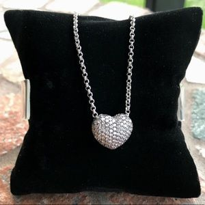 Valentine gift cz heart stainless steel necklace